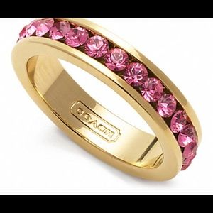 NEW PAVE BAND RING F96419 PINK SIZE 6